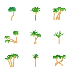 Tree palm icons set cartoon style vector image