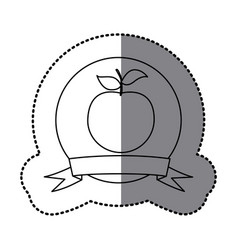 Figure emblem apple fruit icon vector