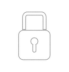 Lock sign   black dotted icon vector