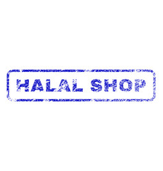 halal shop rubber stamp vector image