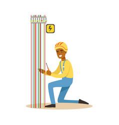 Electrician engineer repairing electricity power vector