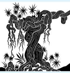 Tree with lianas vector
