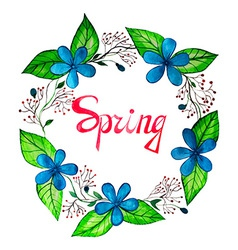 Watercolor spring wreath with blue flowers vector
