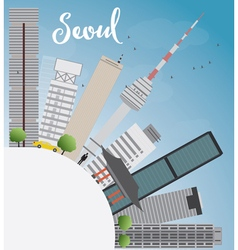 Seoul skyline with grey building vector