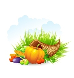 Thanksgiving card wicker basket background vector