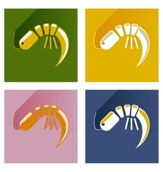 Modern flat icons collection shadow shrimp vector