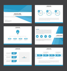 Blue tone presentation templates infographic set vector