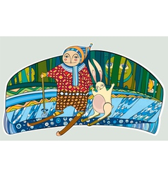 boy hare skis winter forest vector image
