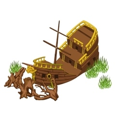 Pirate ship and trunks of trees isolated vector