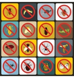 No insect sign icons set flat style vector