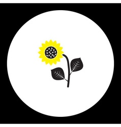 Black and yellow sunflower isolated black icon vector