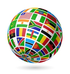 African flags globe vector