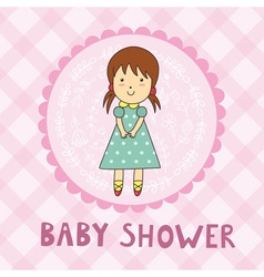 Baby shower card with a cute girl vector image