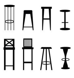 Bar stools set in black ilustration vector