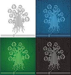 Circuit board tree background vector