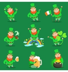 Classic leprechaun in green outfit set of emoji vector