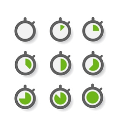 Clock icons collection design elements vector