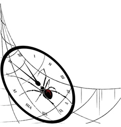 Clock spiderweb and spider vector