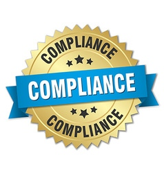 Compliance 3d gold badge with blue ribbon vector