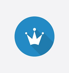 Crown flat blue simple icon with long shadow vector