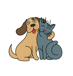 Cute dog hugs cat vector