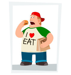fatman eating hamburger vector image