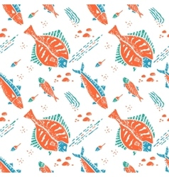 Flounder pattern in naive lino style vector