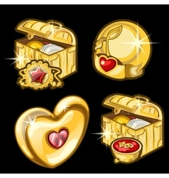 Golden chest with dishes heart and other items vector