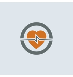 Gray-orange Heart Round Icon vector image