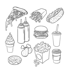 Hand drawn pop art monochrome set of fast food vector