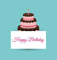 Happy birthday cake card party event vector