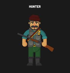 Hunter flat cartoon style vector