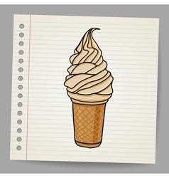 ice cream cone doodle vector image vector image