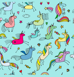 magic unicorns seamless pattern for your design vector image vector image