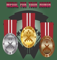 Medal skill honor rifleman set vector