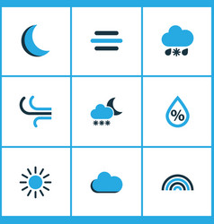 meteorology colored icons set collection of fog vector image