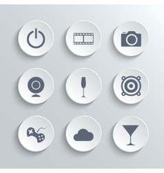 Multimedia icons set - white round buttons vector