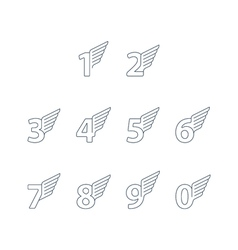 Numbers thin lines set of icons with wings vector image vector image