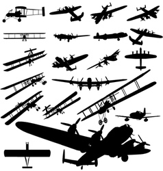 old plane silhouette vector image