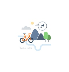 Outdoor sports activities bicycle icon vector image vector image