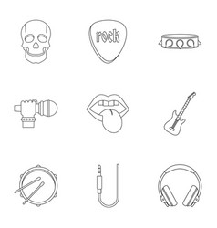 rock music equipment icon set outline style vector image