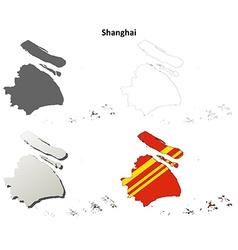 Shanghai blank outline map set vector image