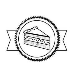 Silhouette stamp sticker with piece of cake with vector