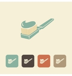 Toothpaste and toothbrush icon vector image