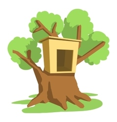 Tree house icon cartoon style vector