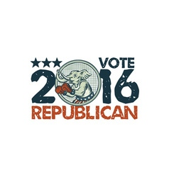 Vote republican 2016 elephant boxer circle etching vector