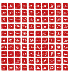 100 sea icons set grunge red vector