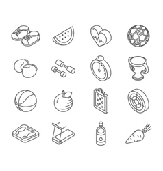Isometric healthy lifestyle icons line art vector image
