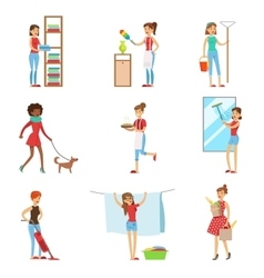 Happy modern housewives shopping and housekeeping vector