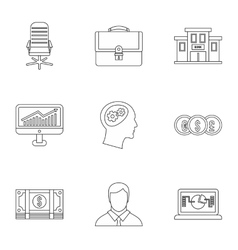 Business icons set outline style vector